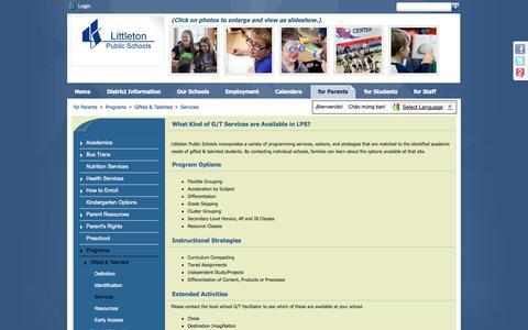 Screenshot of Services Page littletonpublicschools.net - Services - captured Sept. 19, 2014