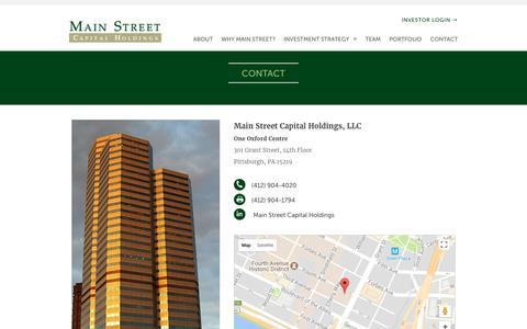 Screenshot of Contact Page mainstcap.com - Contact | Main Street Capital - captured Sept. 29, 2017