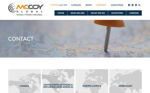 Screenshot of Contact Page mccoyglobal.com - Contact – McCoy Global Inc. - captured Oct. 17, 2018