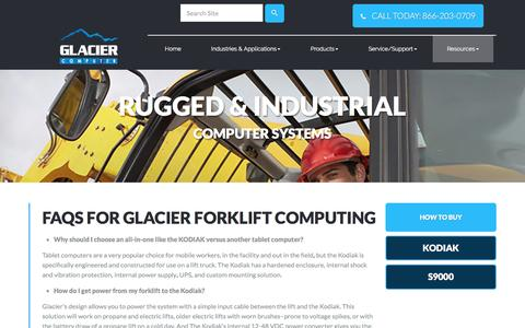 Screenshot of FAQ Page glaciercomputer.com - FAQs for Glacier Forklift Computing | Glacier Computer - captured Nov. 7, 2016