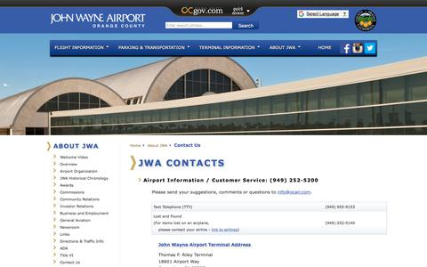 Screenshot of Contact Page ocair.com - John Wayne Airport, Orange County (SNA), Located in Southern California - official website   John Wayne Airport, Orange County (SNA), Located in Southern California - official website - captured Sept. 24, 2018