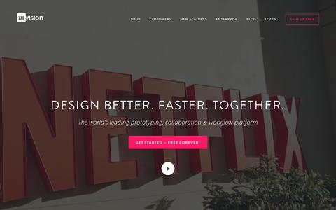 Screenshot of Home Page invisionapp.com - Free Web & Mobile Prototyping (Web, iOS, Android) and UI Mockup Tool   InVision - captured Nov. 1, 2015
