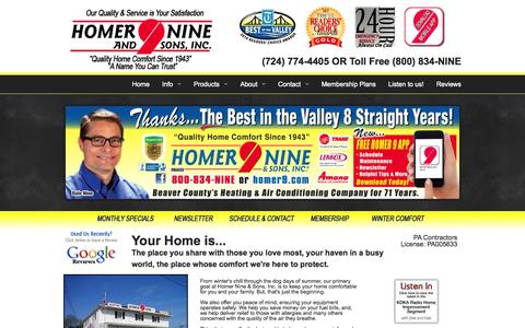 Screenshot of Home Page homer9.com - Furnace Repair & Duct Cleaning in Beaver Valley, PA | Homer Nine & Sons, Inc. - Homer Nine & Sons, Inc. - captured Oct. 2, 2014