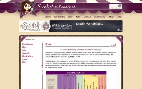 Screenshot of Signup Page scentofawarmer.com - Join - Scent of a Warmer - Scentsy™ Candles - captured Oct. 4, 2014