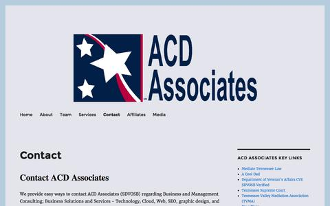 Screenshot of Contact Page acdassociates.com - Contact ACD Associates | SDVOSB | Consulting | Cloud | Web | SEO - captured July 23, 2016