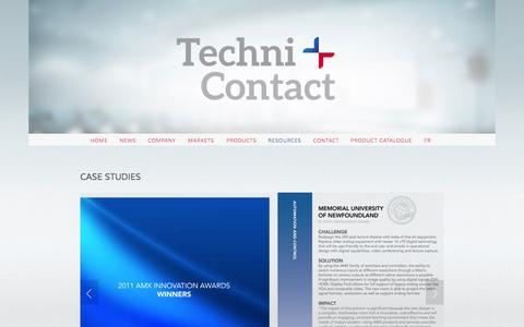 Screenshot of Case Studies Page technicontact.com - Case Studies — Techni+Contact - captured Sept. 26, 2014