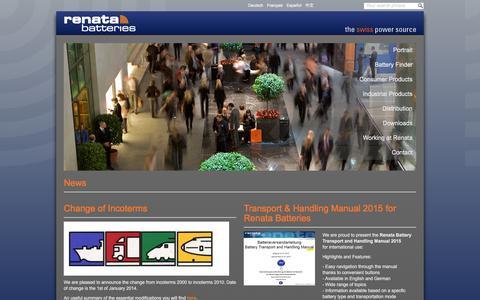 Screenshot of Press Page renata.com - News - Renata SA - captured March 6, 2016