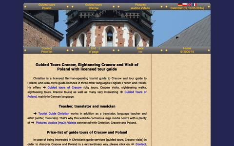 Screenshot of Home Page guide-cracow.com - Guide Cracow Guided Tours Cracow Visits Cracow Sightseeing Cracow - captured May 12, 2016