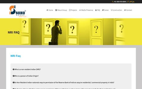 Screenshot of FAQ Page sohogroup.in - Soho Group   NRI FAQ - captured Nov. 16, 2016
