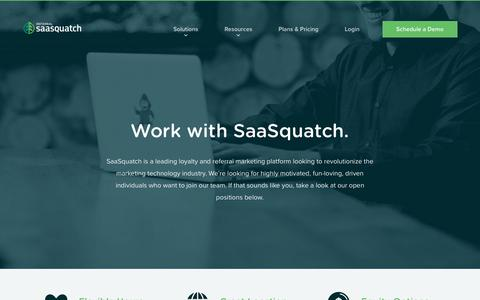 Screenshot of Jobs Page referralsaasquatch.com - Work with SaaSquatch - Loyalty and Referrals for the Digital Economy - captured Aug. 16, 2018