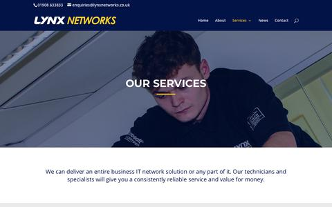 Screenshot of Services Page lynxnetworks.co.uk - Our Services   Lynx Networks   Milton Keynes - captured Sept. 30, 2018