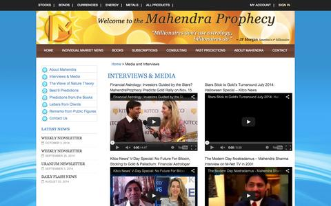 Screenshot of Press Page mahendraprophecy.us - Media and Interviews - captured Oct. 29, 2014