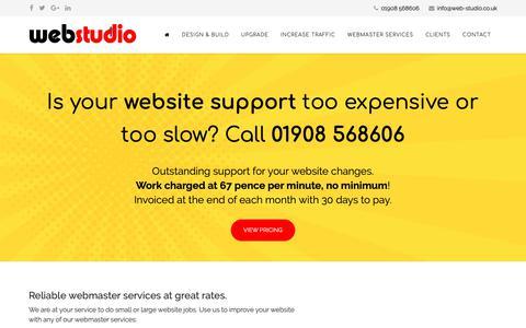 Screenshot of Support Page web-studio.co.uk - Webmaster Services | Website Updates | webstudio - captured Oct. 21, 2018