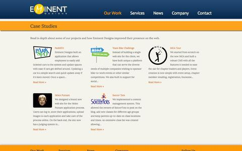 Screenshot of Case Studies Page eminent-designs.net - Case Studies | Eminent Designs - captured Sept. 29, 2014