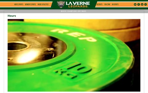 Screenshot of Hours Page leopardathletics.com - Hours -  La Verne - captured Jan. 21, 2017