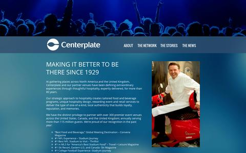 Screenshot of About Page centerplate.com - About – Centerplate - captured Sept. 29, 2014