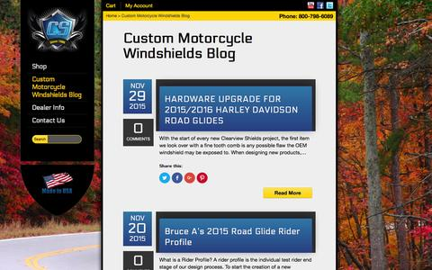 Screenshot of Blog clearviewshields.com - Custom Motorcycle Windshields Blog | Clearview Shields - captured Dec. 5, 2015