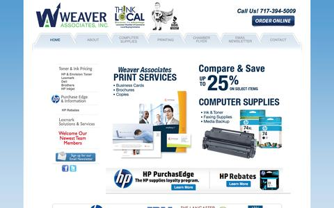 Screenshot of Home Page weaverassociatesinc.com - Weaver Associates, Inc. - Ink & Toner Supplies, Copy & Print Services in Lancaster County, Pennsylvania (PA) - captured Oct. 1, 2014