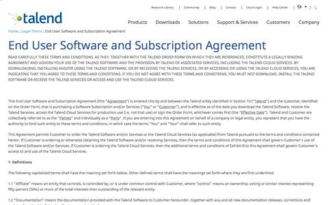End User Software and Subscription Agreement - Talend Real-Time Open Source Data Integration Software