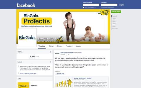 Screenshot of Facebook Page facebook.com - BioGaia Probiotics | Facebook - captured Oct. 23, 2014