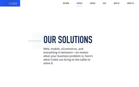 Screenshot of Services Page codal.com - Our solutions - Codal - captured April 20, 2019