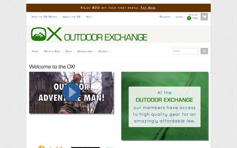Screenshot of Home Page usetheox.com - Outdoor Exchange - captured Sept. 23, 2014