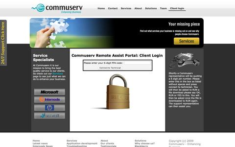 Screenshot of Support Page commuserv.com.au - Client Login | Internet services in Adelaide | Commuserv - captured Dec. 10, 2015