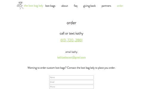 Screenshot of Contact Page lootbaglady.com - contact - captured Jan. 29, 2017