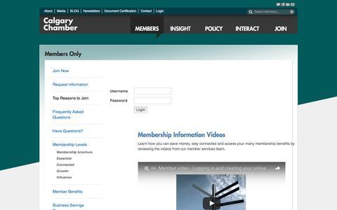 Screenshot of Login Page calgarychamber.com - Members Only | Calgary | Calgary Chamber of Commerce | Calgary, AB | Calgary Chamber of Commerce | Calgary AB - captured Oct. 16, 2016