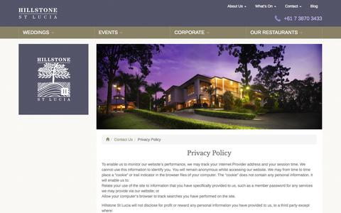 Screenshot of Privacy Page hillstonestlucia.com.au - Privacy Policy | Hillstone St Lucia - captured Oct. 28, 2014