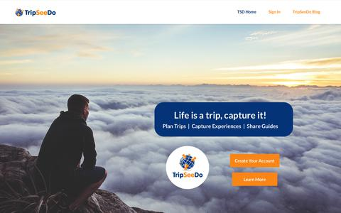 Screenshot of Home Page tripseedo.com - Trip Planner - Capture & share experiences | TripSeeDo - captured Oct. 20, 2018