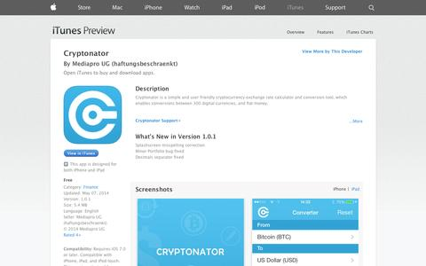 Screenshot of iOS App Page apple.com - Cryptonator on the App Store on iTunes - captured Oct. 22, 2014
