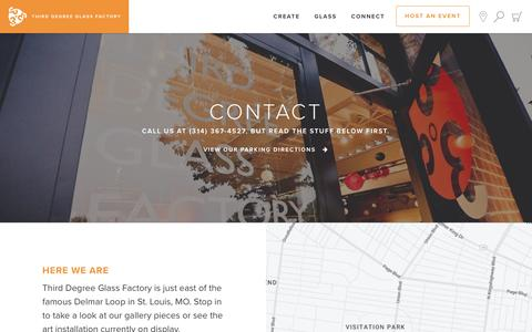 Screenshot of Contact Page thirddegreeglassfactory.com - Contact - Third Degree Glass Factory - captured Feb. 6, 2017