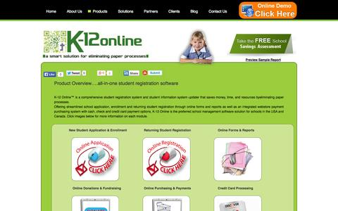 Screenshot of Products Page k12online.us - Products Overview-Student application and registration software   School management software solution for schools - captured Oct. 27, 2014