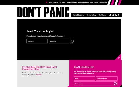 Screenshot of Login Page dontpanicprojects.com - Don't Panic Events - event management & awards specialists - captured Oct. 5, 2014
