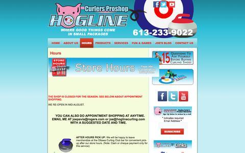 Screenshot of Hours Page hoglinecurling.com - Hours  | Hogline Curlers Proshop | 613-233-9022 | Curling,  Curling Equipment, Curling Supplies | Ottawa ON - captured June 11, 2016