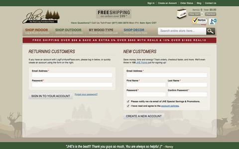 Screenshot of Login Page logfurnitureplace.com - Create New Customer Account - captured Sept. 22, 2014