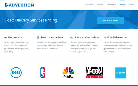 Screenshot of Pricing Page advection.net - Video Delivery Service Pricing - captured Sept. 24, 2018