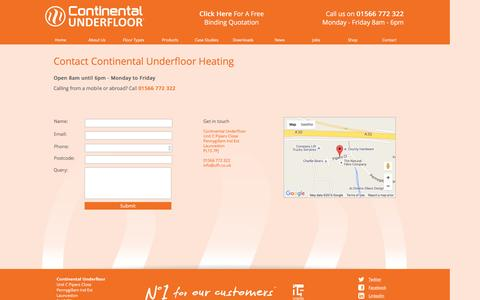 Screenshot of Contact Page ufh.co.uk - Continental Under floor - Contact Us - captured Jan. 31, 2016