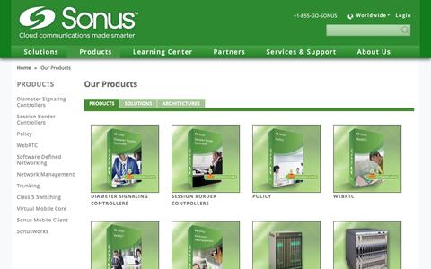Screenshot of Products Page sonus.net - Sonus Products and Solutions | Sonus™ - captured May 9, 2017