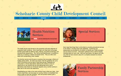 Screenshot of Services Page sccdcny.org - sccdc | SERVICES - captured Nov. 19, 2016