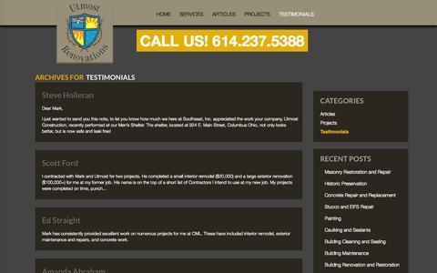 Screenshot of Testimonials Page utmostrenovations.com - Testimonials Archives - Utmost Renovations - captured Oct. 28, 2014