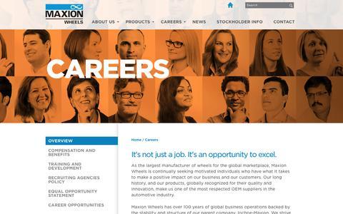 Screenshot of Jobs Page maxionwheels.com - Maxion employs motivated individuals. - captured Sept. 24, 2018