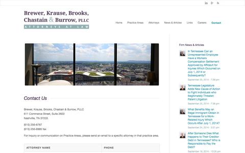 Screenshot of Contact Page bkblaw.com - Trial Lawyers for Business & Insurance Litigation in TN | Contacts | Brewer, Krause, Brooks, Chastain & Burrow, PLLC - captured Oct. 5, 2014