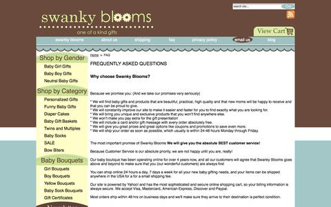 Screenshot of FAQ Page swankyblooms.com - FREQUENTLY ASKED QUESTIONS - captured Oct. 6, 2014