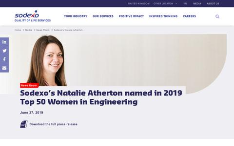 Screenshot of Press Page sodexo.com - Sodexo's Natalie Atherton named in 2019 Top 50 Women in Engineering - captured July 8, 2019