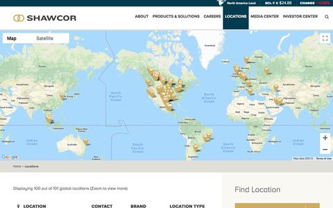 Screenshot of Locations Page shawcor.com - Locations - captured Sept. 21, 2018