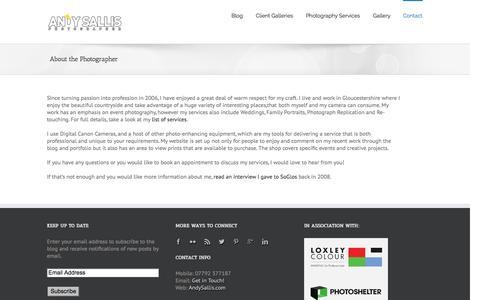 Screenshot of About Page andysallis.com - About   Andy Sallis   Gloucestershire Photographer - captured Oct. 4, 2014