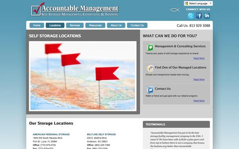 Screenshot of Locations Page accountablemanagement.com - Accountable Management --self storage management, consulting & trainkng - captured Oct. 4, 2014