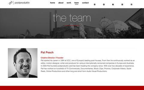 Screenshot of Team Page postproduktiv.com.au - team   postproduktiv - captured July 20, 2018